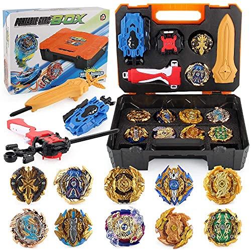 TuKIIE Bey - Juego de 10 peonzas para niños a partir de 6 años Burst Gyro juguete, 3 lanzadores con caja de almacenamiento portátil