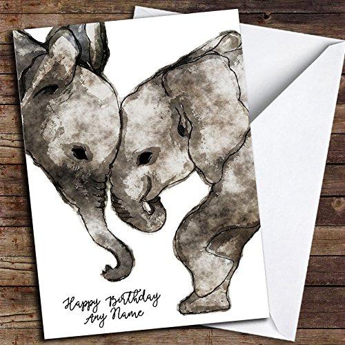 Aquarel Olifanten Eenvoudige Gepersonaliseerde Verjaardagskaart