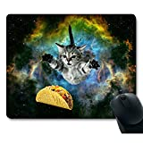 Curious Cat Flying Through Space Reaching for a Taco in Galaxy Space Hilarious Mouse Pad