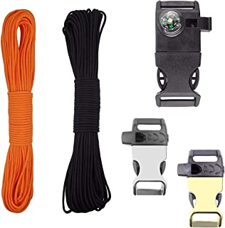 Orange Black 2 PCS Paracord 350lb 100 Feet Bracelet Making Kit 7 Strands with Buckles 3/4 1/2 Metal Compass Whistle