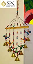 SPK Home decor Wooden Handpainted and Handmade Hanging Wind Chimes Pieces (Multicolour, 45 cm)