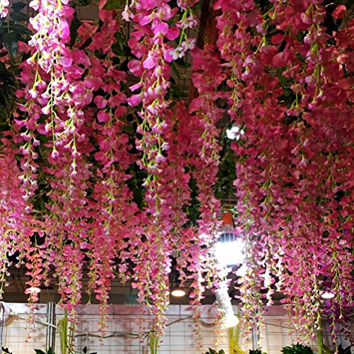Houda Artificial Wisteria Vine Ratta Hanging Garland Silk Flowers for Party Home Wedding Decor,12PCS, 3.4-Feet, (Pink/Red)