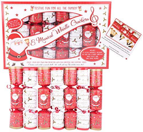 Toyland® 8er-Pack musikalische Pfeife Santa Design Christmas Crackers - Neuheitendekoration