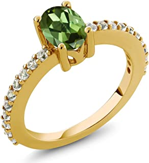 Gem Stone King Green Tourmaline and White Created Sapphire 18K Yellow Gold Plated Silver Ring (Available 5,6,7,8,9)