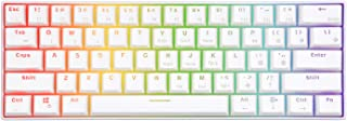 RK61 60% RGB Mechanical Gaming Keyboard Small Compact 61 Keys, Wired/Wireless Bluetooth Mini Portable Keyboard Gaming/Office for iOS Android Windows and Mac with Programmer Red Switch - White