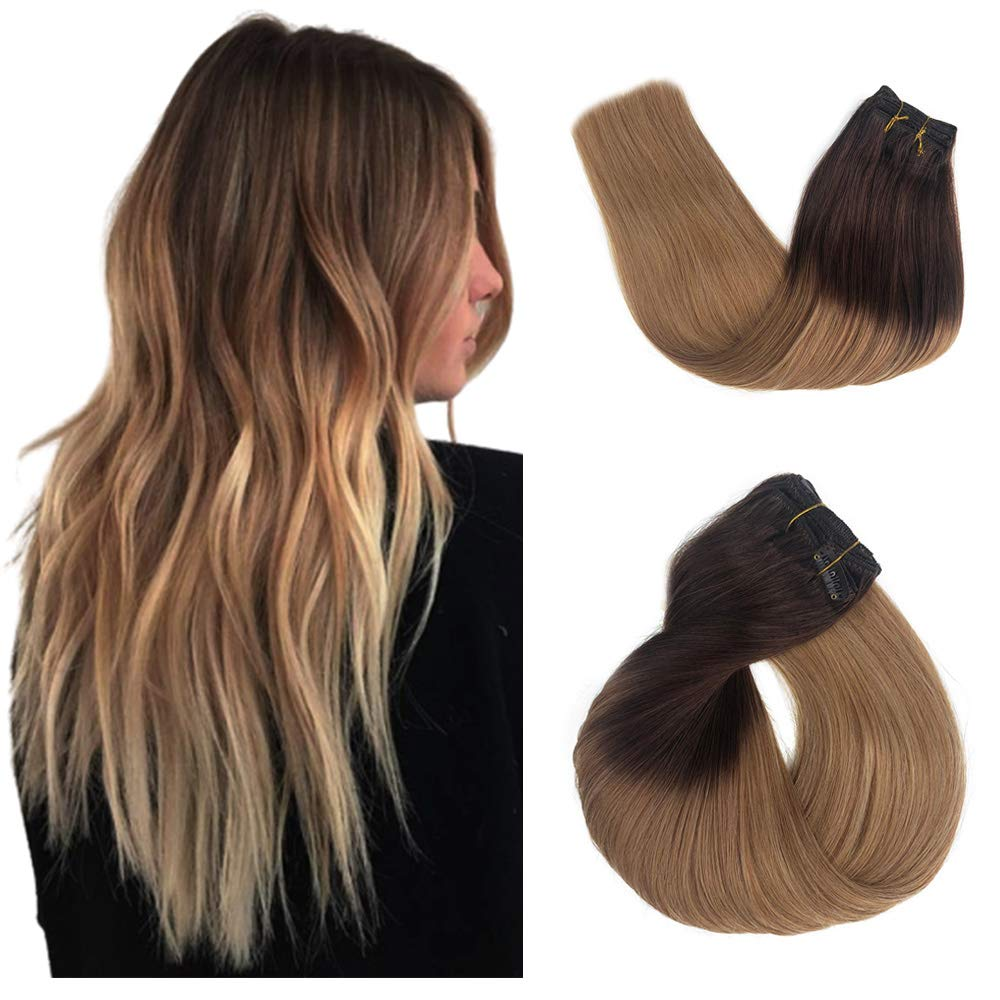Blonde Clip 付与 in Hair Extensions Ext Remy ギフト プレゼント ご褒美 Brazilian Skin Weft
