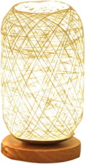 Home Wood Rattan Twine Ball Lights Table Lamp Room Home Art Decor Desk Light Solid Wood Base Creative Reading Light Beige Brown (Color : Beige, Size : Power Switch Button)