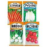 日本農産種苗 種(野菜) ミニ野菜セット 901095 小さなスペースでも栽培できる 4入