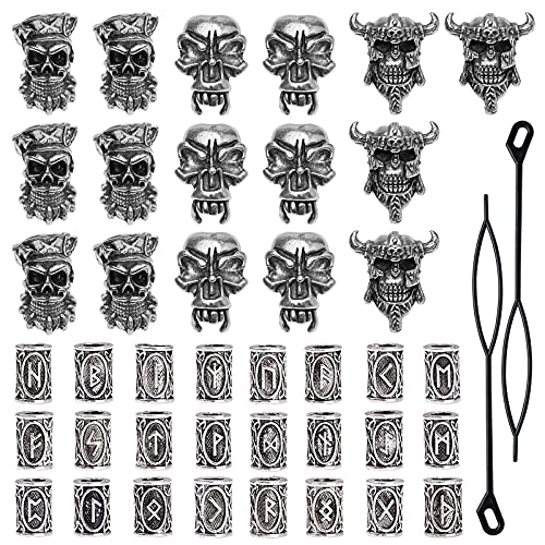42 Pieces Viking Beard Beads Antique Norse Hair Tube Beads Pirate Skull Dreadlocks Beads for Hair Braiding Bracelet Pendant Necklace Silver DIY Jewelry Hair Decoration