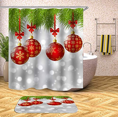 N / A Gancho navideño Cortina de Ducha de baño con Cortina de baño Cortina de Ducha 3D Tela Floral Familia navideña Cortina de Ducha de Moho Impermeable A10 120x180cm