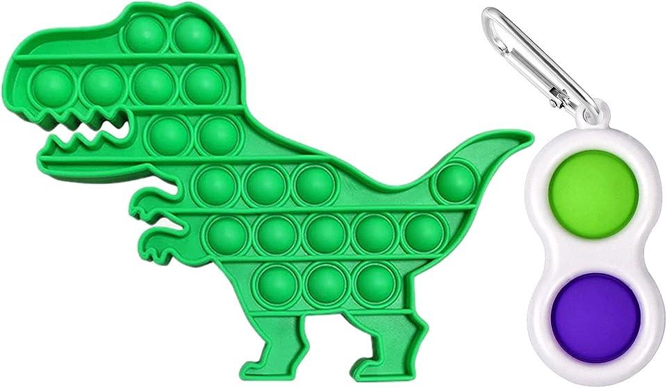 Fresion 2Pcs Push Pop Bubble Fidget Sensory Toy Sensory Stress Relief Toys for Autism,Poppet Fidget Toys Simple Dimple, Squeeze Sensory Toy for Kids & adults(Dinosaur)