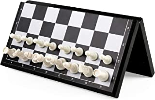 "KIDAMI Magnetic Folding Travel Chess Set 11.2×11.2 Inches, Lightweight & Portable with Inner Slots for Pieces Storage (Including ""Crowns"" for Changing Pawn to Queen)"