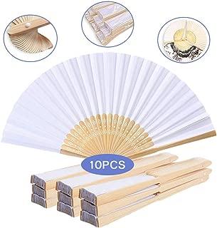 10 Stück Papierfächer Handfächer - Weiß Chinesischer Handfächer Holz und Bambus Stoff Faltfächer für Kinder und Frauen, Faltbar Hochwertig Seiden Handfächer für Hochzeit Party Zuhause Wand Deko