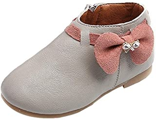 21 , Gray : Fashion Baby Girls Bowknot Sneaker Shoes , YOYOUG Toddler Baby Girls ld Fashion Bowknot Sneaker Boots Zipper Casual Shoes (21, Gray)