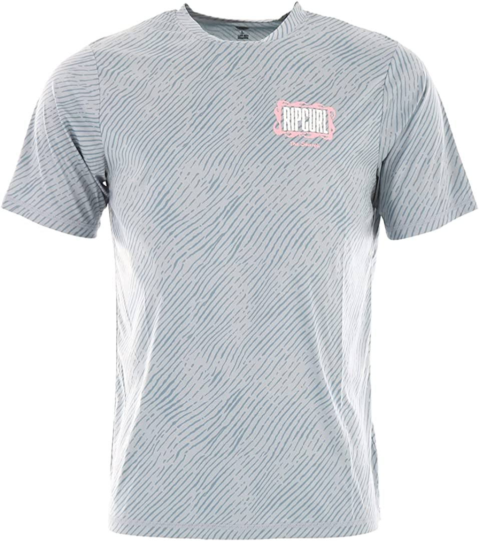 Rip Curl Men Mind Wave Short Sleeve UV Tee T Shirt Top - Mid Blue - UV Sun Protection and SPF Properties