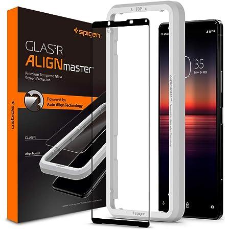 Spigen AlignMaster 全面保護 ガラスフィルム Sony Xperia 1 II 用 ガイド枠付き ソニー Xperia1 II 用 保護 フィルム フルカバー 1枚入