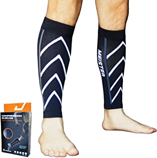 Meister Graduated 20-25mmHg Compression Running Leg Sleeves for Shin Splints (Pair)