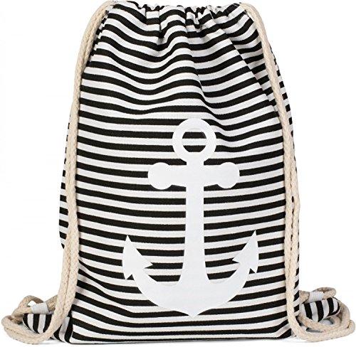 styleBREAKER Turnbeutel Rucksack im maritimen Design mit Streifen und Anker Print, Sportbeutel, Unisex 02012052, Farbe:Schwarz-Weiß/Weiß