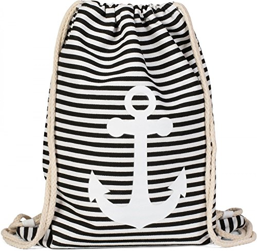 styleBREAKER Bolsa de Deporte, Mochila con diseño Marinero con Rayas y Estampado de Ancla, Unisex 02012052, Color:Negro-Blanco/Blanco