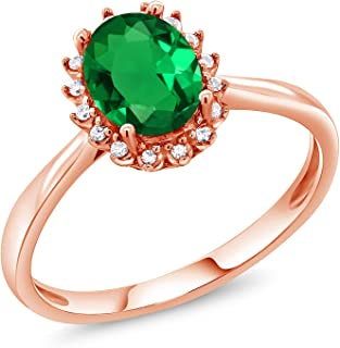 1.00 Ct Oval Green Simulated Emerald 10K Rose Gold Ring with Diamond Accent (Available 5,6,7,8,9)