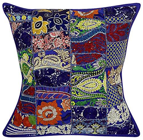Nandnandini–indiano mano cotone guanciale antico, Boemia copriletto cuscino vintage patchwork decorativo etnico divano cuscino Home Decor divano patchwork cuscino blu