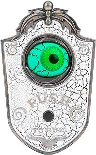 ハロウィンドアベル、タッチ可能なハロウィンOne‑Eyedドアベル装飾効果音付きの眼球ドアベル、ハロウィンパーティー&お化け屋敷装飾(白い)