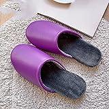 Zapatillas De Casa,Pantuflas para Mujer Invierno Púrpura Cuero De La PU Impermeable Cierre Simple Suave Y Cálido Piso Pantuflas Pantuflas Mullidas Lavables Antideslizantes Interiores Zapatos Al Ai