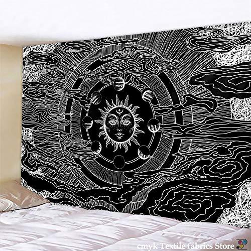 WERT Tapiz con Estampado de Mandala Multicolor, Tapiz de Tela de Fondo para decoración de Dormitorio de Pared India A17 150x200cm