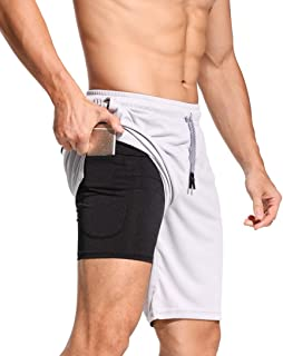 CLOUSPO 2 in 1 Gym Shorts Running Shorts Sweat Shorts with Back Zipped Pocket Inner Short Exercise Workout Sports Shorts Mens