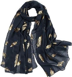 KAVINGKALY Mesdames Plumes Écharpe Rose Gold Glitter Plume Imprimer Foulards Fête De Mariage De Mode Wrap