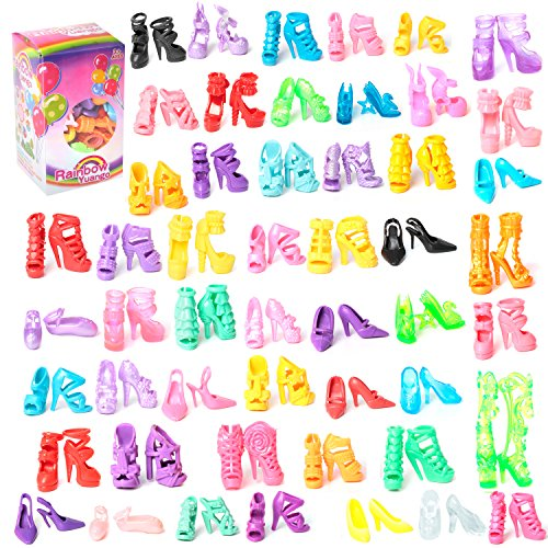 RAINBOW 50 Pairs Different High Heel Shoes Boots Accessories for Barbie Doll