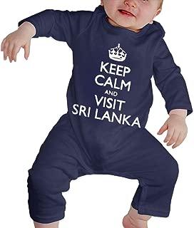 Just Born Baby Boys Girls Bodysuits Keep Calm and Visit Sri Lanka Cotton Long Sleeve Climb Romper
