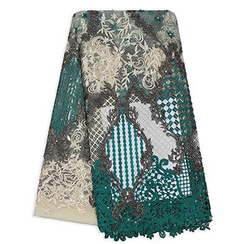 Afrikaanse veters koord naaien stoffen voor Nigeriaanse vrouwen bruiloft of partij jurk kralen borduurwerk handgesneden veters stoffen voor dame 5 YARDS Groen