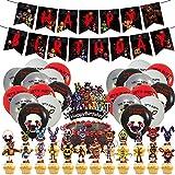 LLMZ Five Nights at Freddy's 50pcs Freddy Happy Birthday Supplies (1pcs Banner de Feliz Cumpleaños+25pcs Cupcakes+24pcs Globos de Látex )Cumpleaños para Cinco Noches en Freddy's