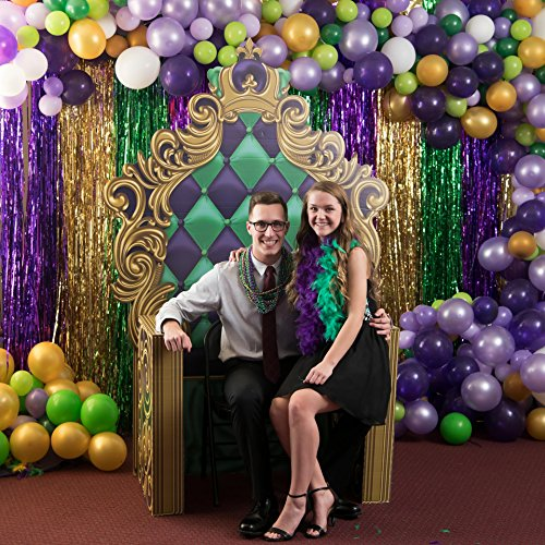 6 ft. 10 in. Masquerade Mardi Gras King's Throne Standup Photo Booth Prop Background Backdrop Party Decoration Decor Scene Setter Cardboard Cutout