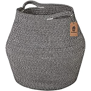 "Goodpick Cotton Rope Storage Basket Woven Baby Laundry Basket for Storage, Plant Pot, Beach Bag, and Kids' Toys Home Decor Blanket Basket Planter Basket,16.1"" × 14.9 ""× 11.8"""