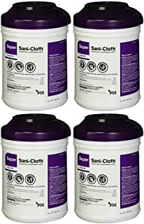 Sani-Cloth Q55172 Super Wipes Surface Disinfectant Germicidal Cloths High Alcohol Large Size,160 Count,Pack of 4 Tubs