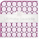 SwaddleDesigns Ultimate Swaddle, X-Large Receiving Blanket, Made in USA, Premium Cotton Flannel, Very Berry Jewel Tone Mod Circles (Mom's Choice Award Winner)
