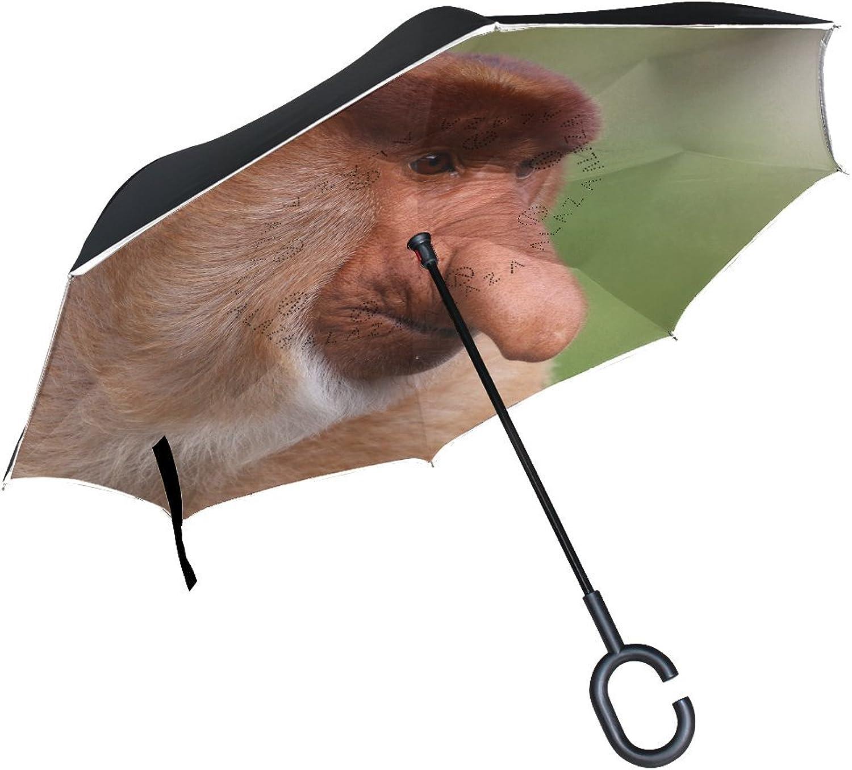 Animal Monkey Proboscis Adorable Pet Cute Wild Pretty Strong Ingreened Umbrella Large Double Layer Outdoor Rain Sun Car Reversible Umbrella