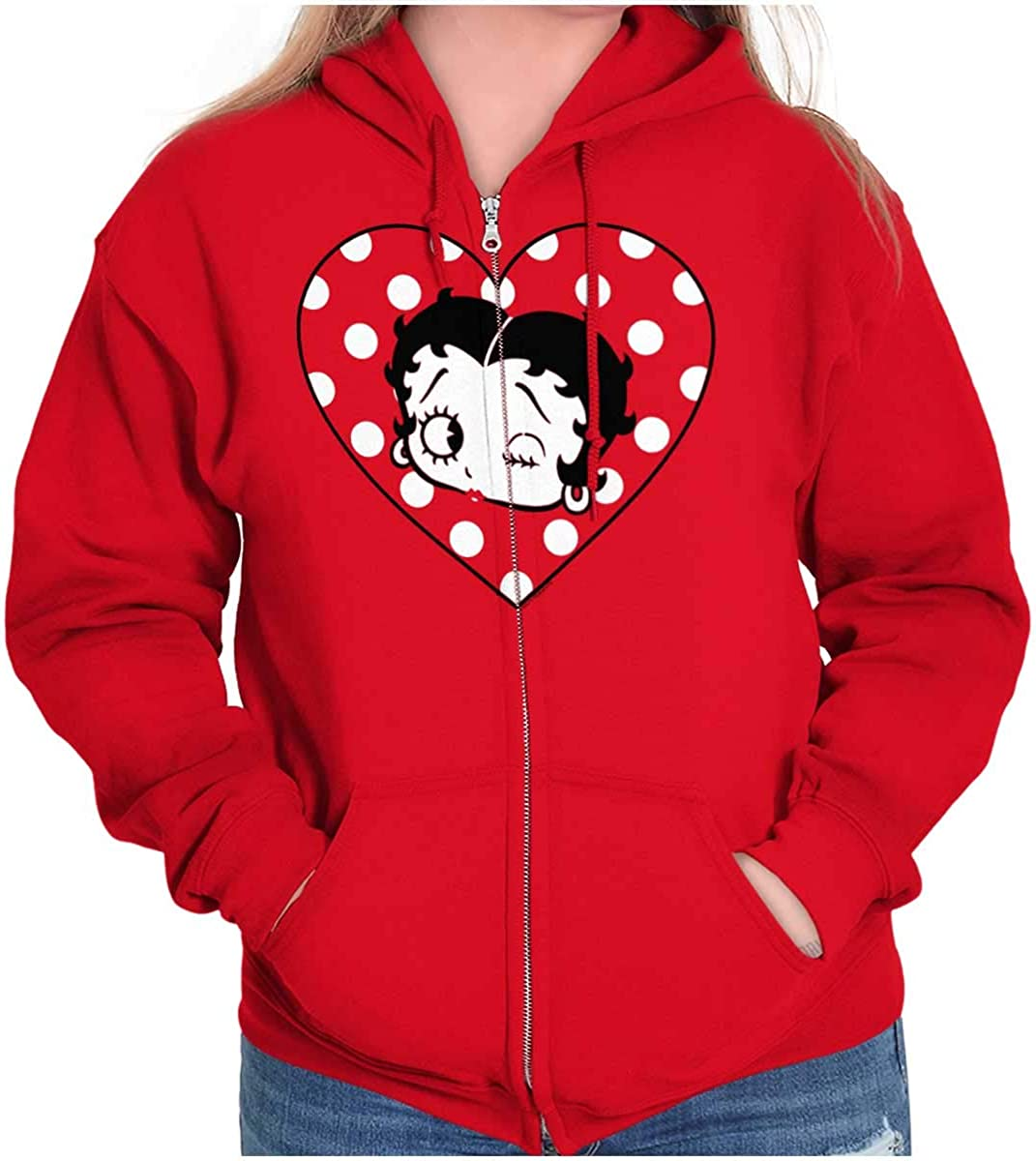Betty Boop Wink and a Kiss Polka Dots Zip Hoodie Sweatshirt Wome