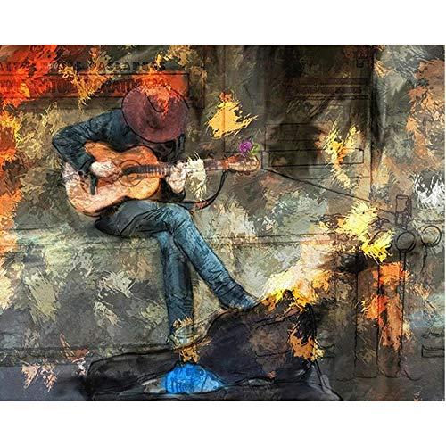 BJLBABY borduurwerk kruissteek 5D DIY diamantschilderij op aantal kits gitaar handwerk knutselen volledige diamant painting mozaïek schilderij kamerdecoratie wanddecoratie (zonder frame 30x40cm)