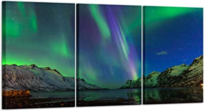 Kreative Arts - Green Modern Aurora Borealis Iceland Landscape Northern Light Canvas Prints Picture Painting Framed Ready to Hang 16x24inchx3pcs