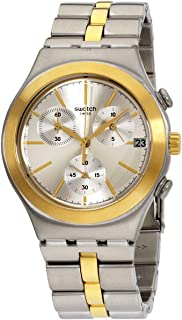 Swatch YCS592G Stainless Steel Two-Tone Chronograph Unisex Round analog Watch - Silver & Gold