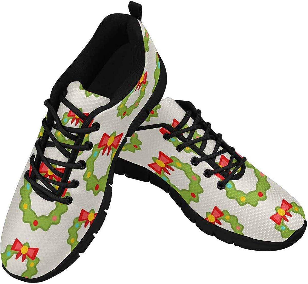 INTERESTPRINT Christmas Wreathes, Nature Women's Athletic Walking Shoes Breathe Comfort Mesh