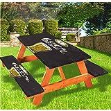 LEWIS FRANKLIN Cortina de ducha moderna para mesa de picnic y banco de mesa, mantel ajustable, de borde elástico y borde antiguo, 28 x 72 pulgadas, juego de 3 piezas para mesa plegable