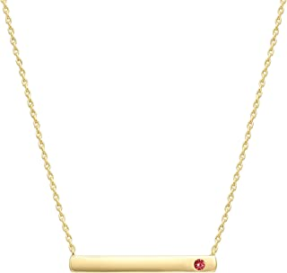 PAVOI 14K Gold Plated Swarovski Crystal Birthstone Bar Necklace   Dainty Necklace   Gold Necklaces for Women  