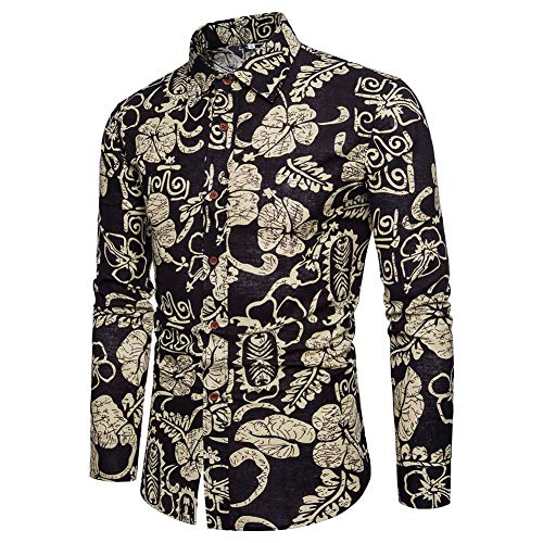 Men's Casual Shirts Classic Men Dress Shirt Men's Long Sleeve Autumn Shirts National Style Printed Slim Fit Shirts (Color : 1, Size : XXL)