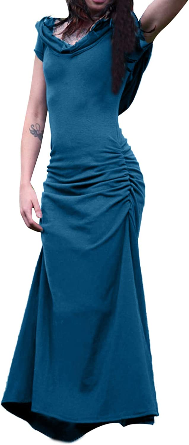 SHOPESSA Maxi Dress for Women Short Sleeve Hollow Out Hoodie Pullover Dress Solid Comfy Slim Fit Summer Fashion Dress