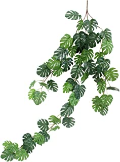 Artificial Rattan Artificial Small Monstera Leaves Artificial Wall Hanging Vine Leaf Garland Plants Simulation Rattan Decoration Home Decor Accessories for Wedding Home (55 Leaves)