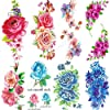 Yesallwas タトゥーシール 薔薇 花 フラワー 8枚セット 入れ墨シール ローズ タトゥーステッカー ボディーシール 子供 レディース 刺青シール 長持ち 防水 腕、足、体、胸、肩、背中に簡単貼る TATOO 9x19CM (A)